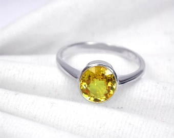 Wedding ring 2.47 ct yellow golden sapphire ring silver sterling.