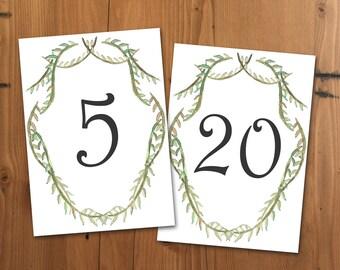 Wedding Table Numbers, Printable Table Numbers, 5x7 Green Vine Table Numbers