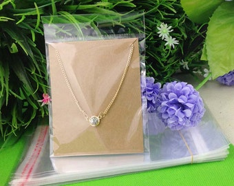 5 x Necklace Display Kraft Card with Clear Plastic Self Adhesive Bag 10 x 8cm