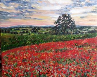 "Original Oil Painting, Morning flower Field, 20""x20"", 1611253"