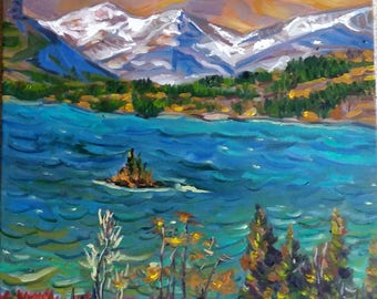 Original Oil Painting, Lake in BC Canada-Landscape painting, 1705055