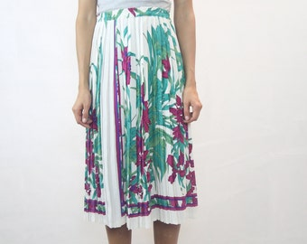 VINTAGE Floral Pleated Midi Skirt Size S-M