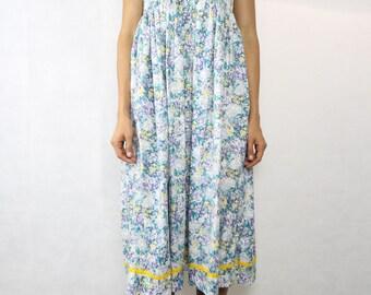 VINTAGE Purple Teal Floral Cotton 80s Empire Dress Size XS-S