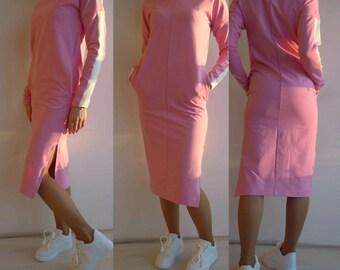 Pink midi dress for women/Cotton knit dress/Long sleeve dress/Midi dress tunic/Dress with pockets, dress with closed neck, side slit dress