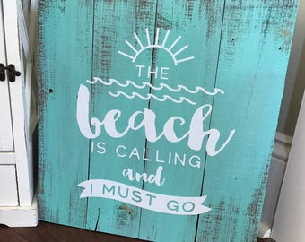 Beach Sign - Beach Decor, Wall Art, Nautical Decor, Ocean Decor