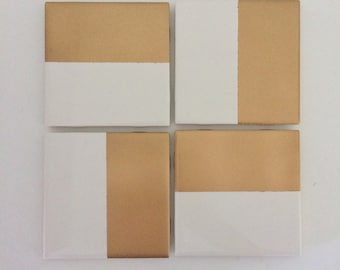 Square Gold and White Coasters