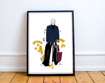 Blue jacket - lovely illustration for special people, poster, fashion drawing, print, home decoration, paintings