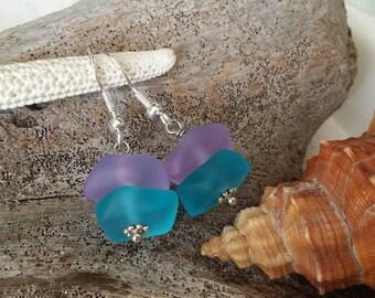 Made in Hawaii, Purple blue sea glass earrings, 925 sterling silver hook, gift box.beach jewelry