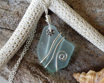 Handmade in Hawaii, wire wrapped Seafoam sea glass necklace, 20 inch 925 sterling silver chain, gift box.Hawaii jewelry.
