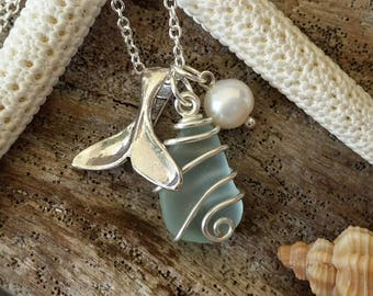 Handmade in Hawaii, Genuine  surf tumbled sea glass.wire wrapped necklace.Whale tail charm,Natural pearl, Sea glass jewelry, Mother's Day