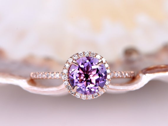 Natural Amethyst engagement ring,6.5mm round cut Amethyst ring,solid 14k rose gold,thin diamond wedding band,promise ring,anniversary ring