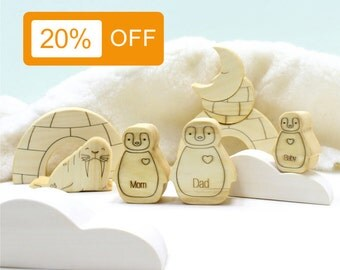Sale, Mothers day, Penguin family, Birthday gifts, Toy set, Wooden toy, Educational toy, Waldorf, Eco, Toddler, Stacking toy, Gift, Walrus
