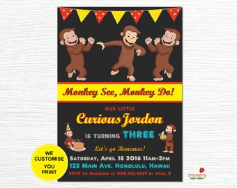 Curious George Birthday Invitation, Curious George Party Invites, Personalized Printable Birthday Invitation