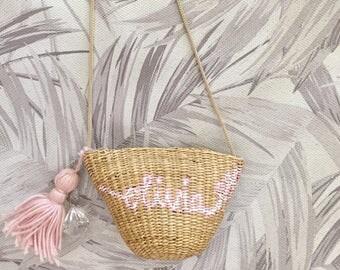 Girls bag, straw bag, beach bag, girl gifts, mini bag, crossbody, straw bag, small bag, long strap, zipper