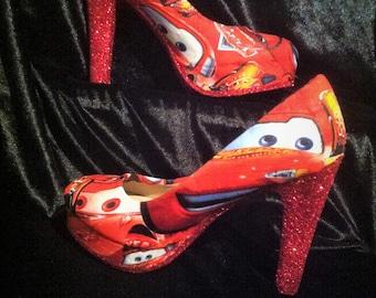 disney cars / lightning mcqueen  heels / shoes * * * sizes uk 3-8