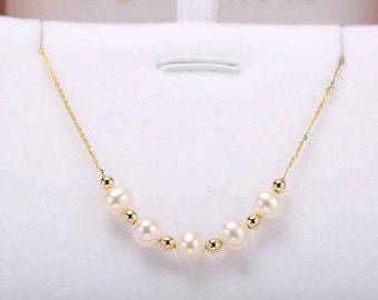 On Sale!!! 18K Au 750 Gold 6-6.5mm Akoya Pearl Necklace