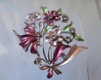 Sweet pink and green enamel flower spray brooch with diamante