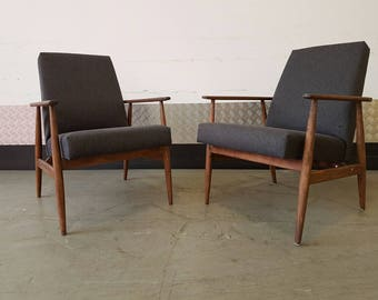 Vintage H.Lis Armchair Scandinavian Mid Century Fully Rstored Upholstered