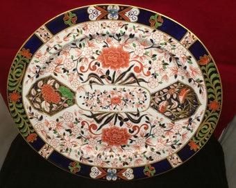 "Large Antique Royal CROWN DERBY Old Imari Meat Platter 17"" Dated 1880's"
