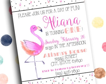 Pink Flamingo with Black and White Polka Dots First Birthday Party Invitation 5x7 Digital Printable