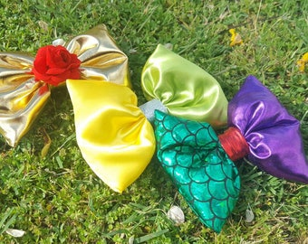 Beauty and the Beast, Tinker Bell, Little Mermaid - SET OF 3. Princess Bows