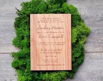 Herringbone Invitations, Chevron Invitations, Wooden Wedding Invitations, Laser Engraved Invitations, Unique Invitations, Eco Invitations