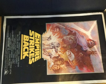Vintage Star Wars empire strikes back movie poster - summer re release 1981