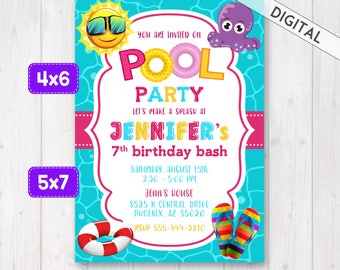 Pool Party Invitation, Swimming Pool Party Invite, Girl pool birthday invitation, Pool Invitation, Girl swimming pool birthday party invite