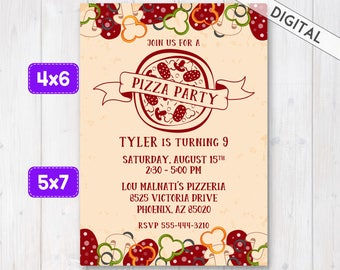 Pizza party invitation, Pizza Invitation, Pizza Party Invite, Pizza Birthday party, Pizza invite, Pizza Theme, Italian pizza invitation