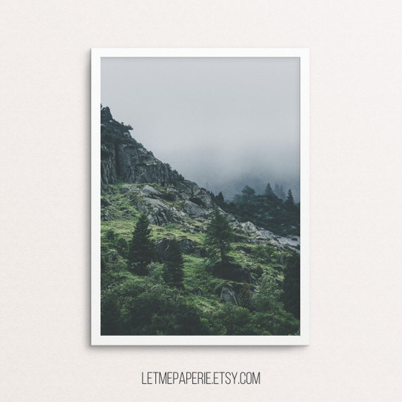 Mountain poster, mountain print, forest photo, mountain photography, forest prints, mountains printable, landscape, mountain wall art, foggy