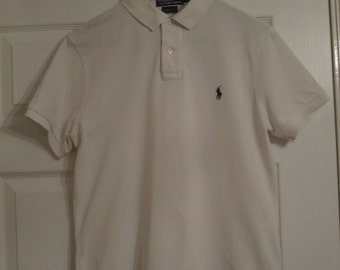 Polo by Ralph Lauren t-shirt,white,medium custom fit,2 button,mens