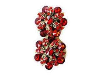 Vintage RED RHINESTONE EARRINGS Clip on Clusters Gold Tone Vintage Jewelry Red Earrings Vintage Rhinestone