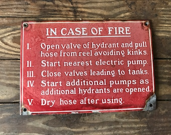 "Original Porcelain ""In Case Of Fire"" Sign"