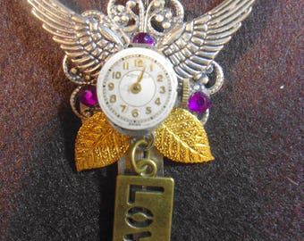 Time Flies Key Pendant Repurposed with Watch face Angel Wings Love