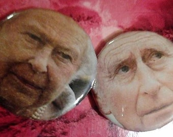 The queen and prince of England disapproving faces 1 inch pin set//2 pins//england//pins