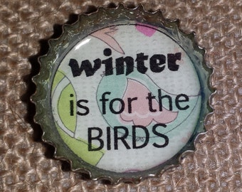 Fun Upcycled Bottlecap Magnets // Winter is For the Birds // Free Shipping // Recycled Bottlecap