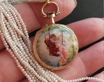 Victorian 14k Gold Enamel Watch Pendant Necklace Exeprional