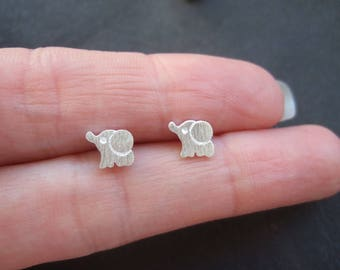 Silver plated elephant earrings, cute silver elephants, small elephant earrings, tiny silver plated animal earrings, gift for her, cute gift