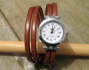 Shown in Camel Leather Bracelet wrap, 2 10MM magnetic silver plated clasp