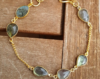 Gold Bracelet with Labradorite