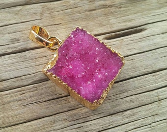 Hot Pink Agate Geode Druzy Square Pendant, Gold Plated, 32mm