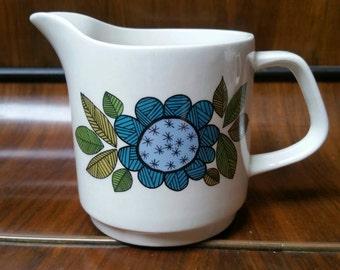 1960s J &G Meakin Studio Blue Topic Design milk jug