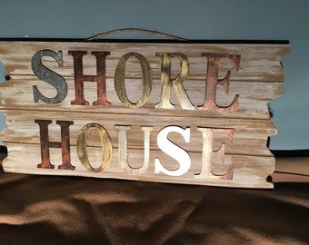 Shore House Sign on Driftwood Planks