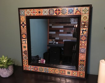 Decorative Beveled Wall Mirror with Talavera Tile - 23 x 27 in.