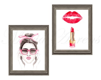 Pink Accessories and Red Lipstick Fashion Print Set, Fashion Illustration Prints Set of 2, 8x10 Artwork Set, Pink and Red Decor