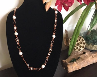 Wire Wrapped Copper with Fresh Water and Faux Pearls Necklace
