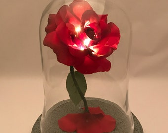 Beauty and the Beast Rose, Enchanted Rose, Life Size Rose, Rose Dome, Wedding Centerpiece Rose, Light Up Rose, Beauty and the Beast