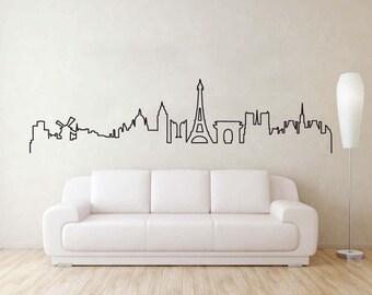 Paris Skyline Wall Sticker, Eiffel Tower Silhouette Decal, Paris Skyline Vinyl Decal, Paris cityscape wall sticker, Paris wall art.