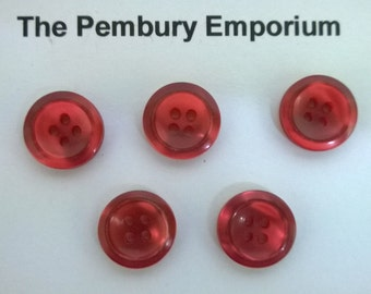 "Buttons. Set of Five Red Plastic Buttons. Almost ""Mother of Pearl"""