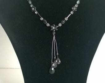 """Vintage / Retro looking silver coloured chain necklace with """"charm"""" pendants"""